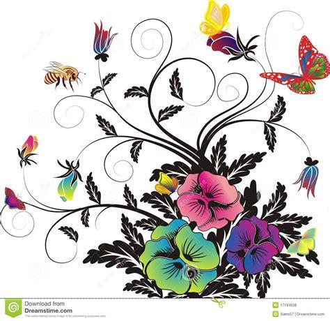 tekening vlinder met bloem bloemen achtergrond en vlinders en bijen vector