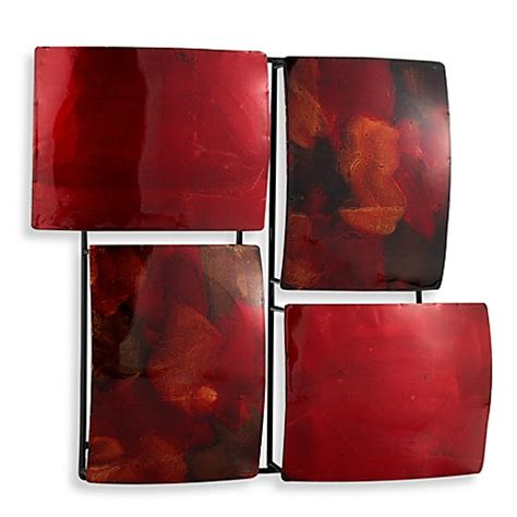 bed bath beyond wall decor red 4 rectangle metal wall art bed bath beyond
