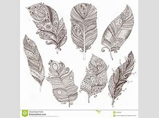 Vector Set Of Doodle Feathers On White Background Stock ... Tribal Print Pattern Black And White