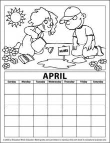 april color free coloring pages of blank calender