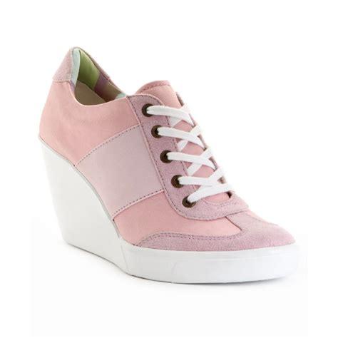 pink wedge sneakers nine west wedge sneakers in pink lyst
