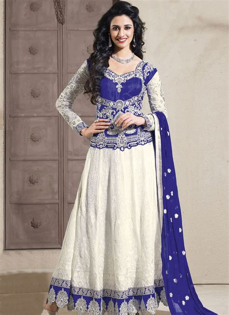 long sut pleasing off white embroidered long anarkali suit