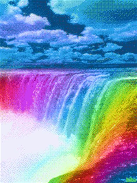 colorful waterfall colorful waterfall rainbows