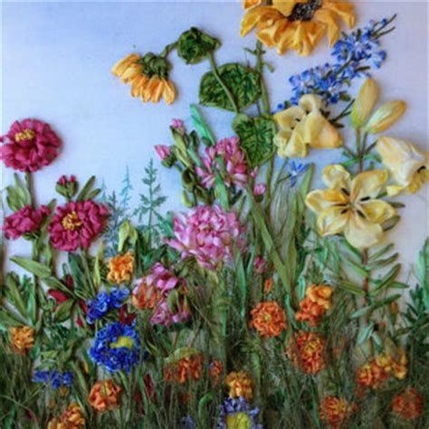 embroidered garden flowers botanical motifs for needle and thread make crafts books shop silk ribbon embroidery on wanelo