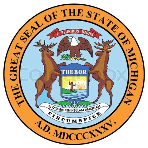 State Of Michigan Search The State Seal Of Michigan A White Background Stock Vector Colourbox