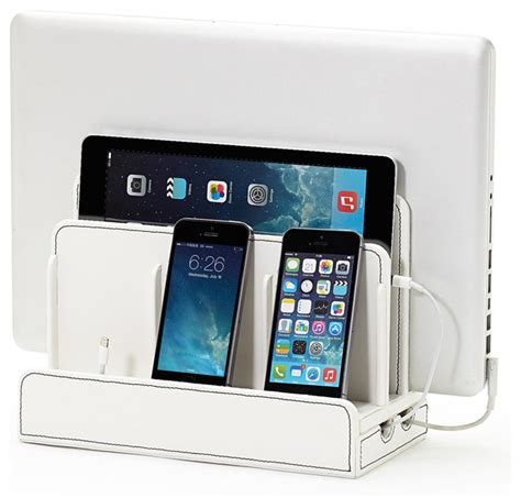 device charging station great useful stuff faux leather multi device charging