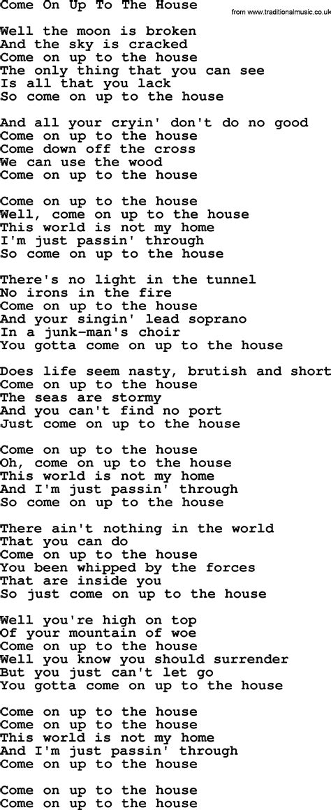 Willie Nelson Song Come On Up To The House Lyrics