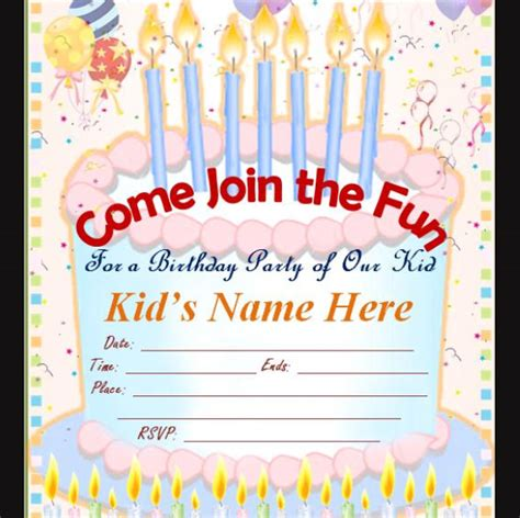 child birthday card invitation template 50 printable birthday invitation templates sle templates
