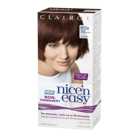 non ammonia brand hair color clairol nice n easy non permanent hair color 815r deep