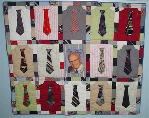 dandy fashioner multiple patterns shirt and tie working dad plaid lap quilt