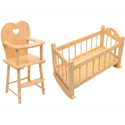 Dolls Wooden Rocking Cradle Cot Bed Feeding High Chair Toy High Doll Bed Set