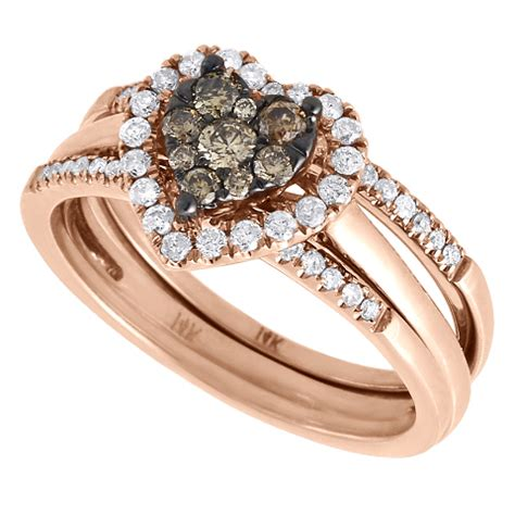 brown engagement ring 14k gold 3 piece
