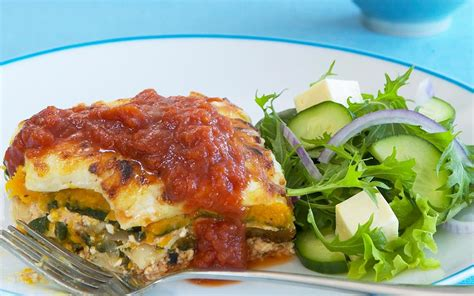 cottage cheese pumpkin and spinach lasagne recipe food