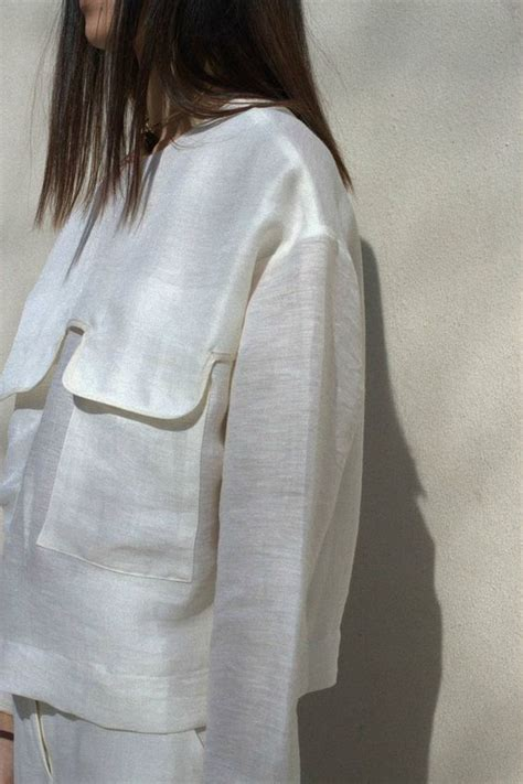 Flap Detail Blouse contemporary fashion white shirt with large flap pocket