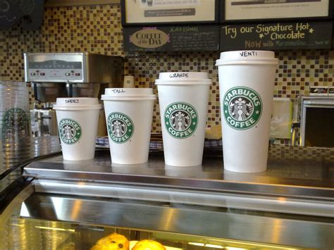 australian starbucks cup sizes four sizes of coffee cups s flickr