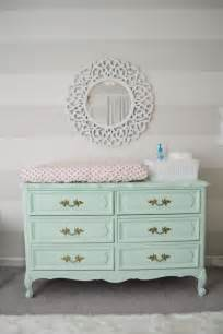 Changing Table Nursery S Mint Pink And Coral Nursery Mint Dresser Striped Walls And Tables