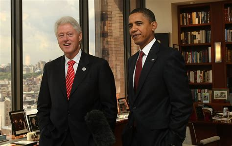 Six Degrees Of Obama And Clinton by Bill Clinton Hosts Barack Obama In His Harlem Office Zimbio
