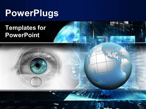 Powerpoint Template Technology Theme With 3d Globe And Eye Scanning Black Color 529 Technology Templates