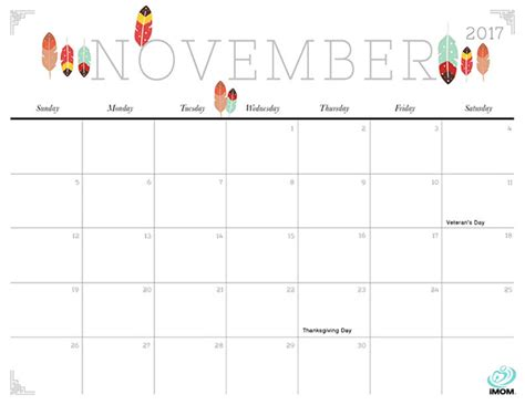 printable calendar 2017 november cute cute and crafty 2017 printable calendar imom