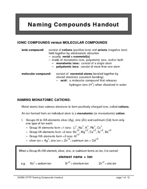 naming compounds handout worksheet for 10th 12th grade lesson planet