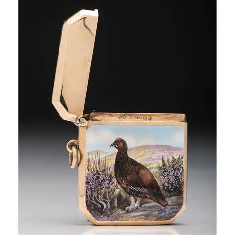 deakin francis  gold match safe  enameled grouse