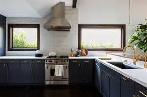 Navy Kitchen Cabinets Stained Cabinets Gold Pulls Design Ideas
