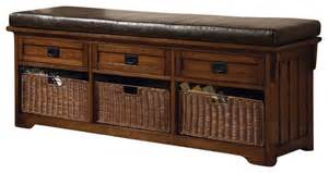 Large Storage Bench Coaster Oak Large Storage Bench With Baskets Transitional Indoor Benches