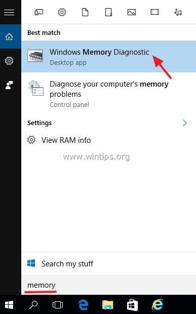 computer ram memory test how to test diagnose ram memory problems wintips org