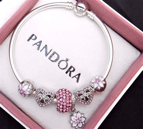 pandora charm authentic pandora silver bangle charm bracelet with pink