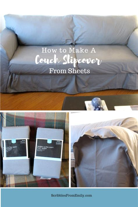cover sofa with sheet scribbles from emily how to make a couch slipcover from