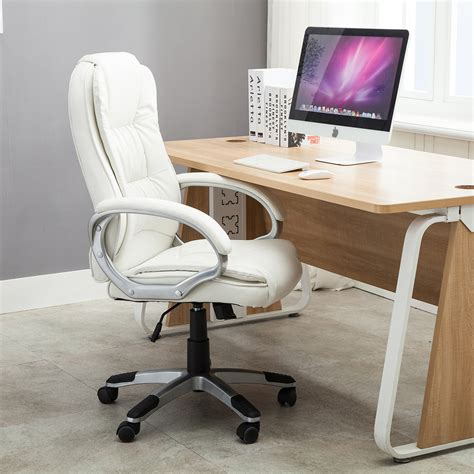 Leather Computer Desk Black Brown White Pu Leather Modern Executive Computer