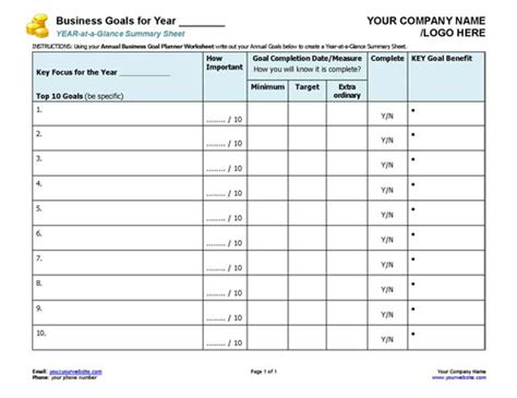 company goals and objectives template small business coaching toolkit coaching tools from the
