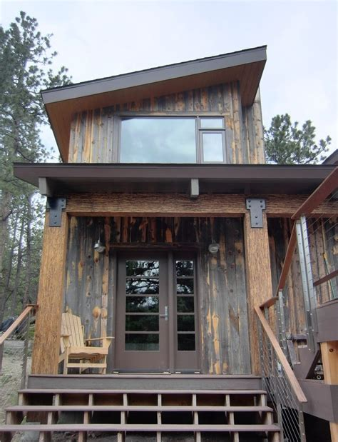 modern rustic home with casita modern exterior rustic mountain cabin entry with cable railing