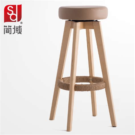 Domain Chairs by Wood Bar Chairs High Foot Stool Simple Fashion Bar Stool Pu Heigh Quality Level Free Shipping In