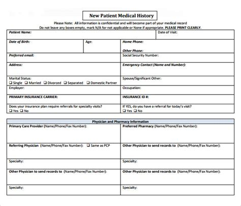 patient history template 14 history forms free sle exle format