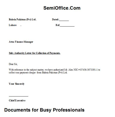 authorization letter format for collecting cheque sle authority letter for cheque collection semioffice