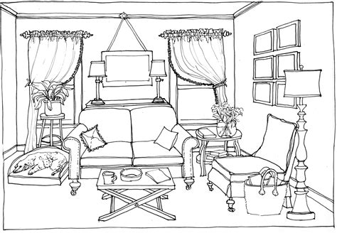 living room coloring living room 37 buildings and architecture printable coloring pages