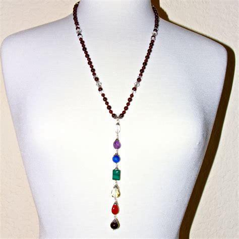 Dangle Necklace chakra garnet beaded dangle necklace honoring the sacred