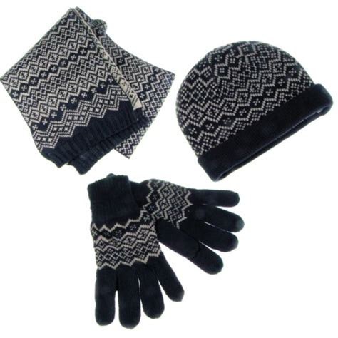 knitting pattern for hat scarf and gloves fairisle knit mens scarf hat glove set navy