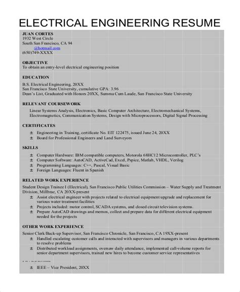 resume format for freshers electrical engineers 8 sle engineering resumes sle templates