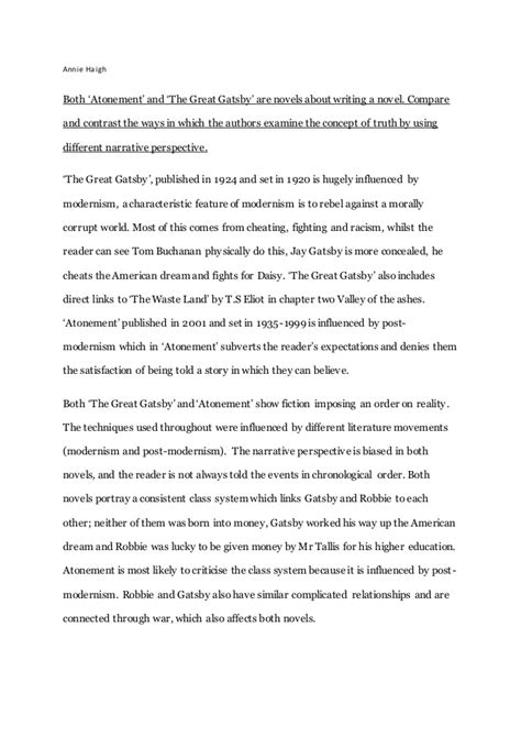 the great gatsby book report essay gatsby and atonement