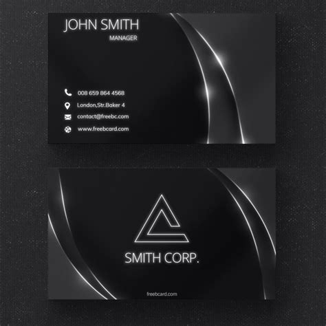 glossy business card template black business card with glossy lines psd file free