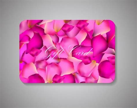 Free Pink Gift Cards - pink petal with gift card vector vector card free download