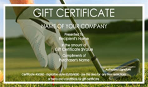 golf gift card template golf gift certificate templates easy to use gift
