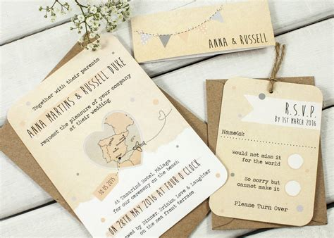 Wedding Invitation Bundles by Bunting Map Wedding Invitation Bundle By Norma Dorothy
