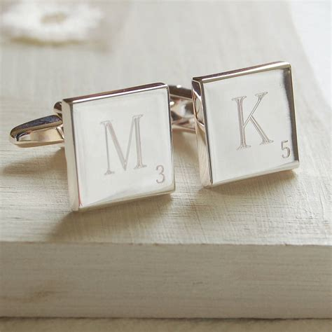 original scrabble word letter tile cufflinks by highland