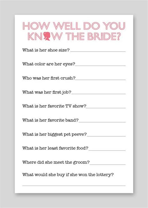 Bridal Shower Questions by Diy Printable Shower Quiz 12 00 Via Etsy