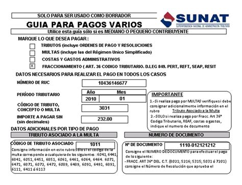 cronograma del rus sunat programacion de pago 2016 guia de pagos varios sunat
