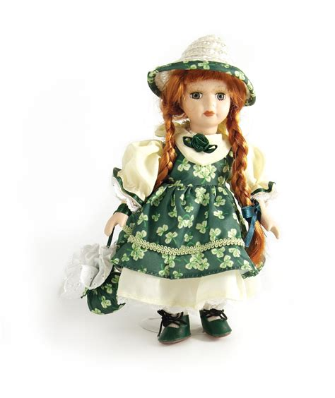 8 porcelain doll 8 quot standing porcelain doll with green shamrock dress