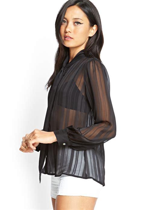 Blouse Striper Black Hitam Salur lyst forever 21 sheer striped tie blouse in black